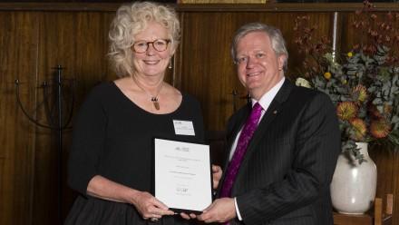 Gail Frank with Vice-Chancellor Professor Brian Schmidt. Photo: Stuart Hay, ANU.