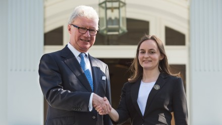 Caption: Ellen Cliff with Queensland Governor Paul de Jersey. Image: Supplied.