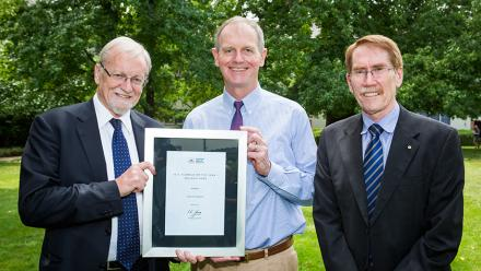 Picture of Graham Tuckwell with the Chancellor and Vice-Chancellor. Photo by Stuart Hay, ANU