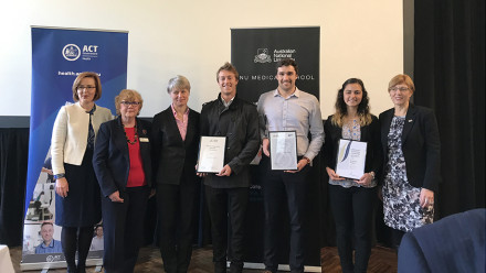 Meegan Fitzharris MLA, ACT Minister for Health, Gaye Doolan, Professor Imogen Mitchell, Cree De Clouett, Harrison Slockee and Stephanie Pollard and Rachel Stephens-Smith MLA, ACT Minister for Aboriginal and Torres Strait Islander Affairs.