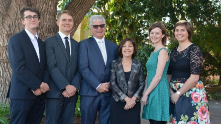 Burgmann College Hawker Scholars at the 2015 presentation in Adelaide (L-R) Mr Cameron Allan (NSW), Mr Mark McAnulty (VIC), Principal Dr Phillip Dutton and Mrs Valerie Dutton, Ms Nina Miers (NT) and Ms Sophie Jones (TAS). Image: supplied.