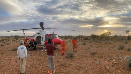 Scientists at Woomera conduct a 'dress rehearsal' for finding and collecting the Hayabusa2 sample capsule when it lands. Image credit: Trevor Ireland, ANU