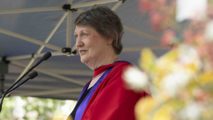The Right Honourable Helen Clark ONZ SSI PC speaking at the inaugural Grand Graduation event after receiving her honorary degree. Photo by Lannon Harley, ANU.