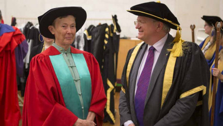 Professor Helen Quinn with Vice-Chancellor Professor Brian Schmidt. Photo by Lannon Harley, ANU.