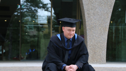 Anthony Moore BA'15 on graduation day