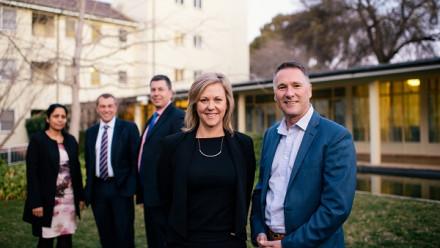 Lakshmi West, Chris Grange and Michael Nelson with Michelle Melbourne and Phillip Williamson.
