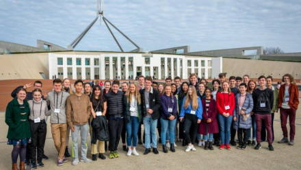 A group of Tuckwell Scholarship candidates visiting Parliament House during the interview weekend.