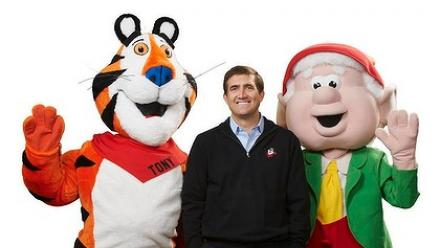 John Bryant with Tony the Tiger and Ernie Keebler