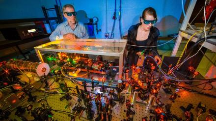 ANU laser physicist Professor Ken Baldwin and PhD student Kate Ferguson.