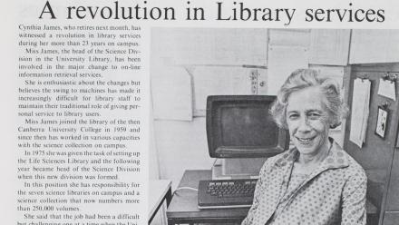 The ANU Reporter article in 1982.