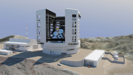 An artist's impression of the Giant Magellan Telescope. Produced by M3 Engineering