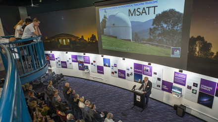 Professor Schmidt at the launch of the MSATT telescope at Mt Stromlo. Photo: Stuart Hay, ANU.