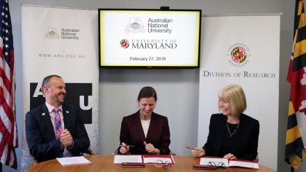 Chief Minister Andrew Barr, UMD Vice President for Research, Laurie Locascio and ANU Deputy Vice-Chancellor of Global Engagement, Professor Shirley Leitch signing the Memorandum of Under