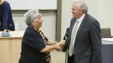 Ngunnawal Elder Matilda House and Professor Brian Schmidt