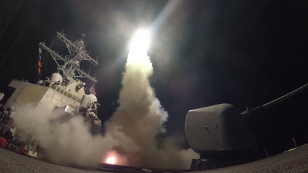The destroyer USS Porter launches a Tomahawk missile at a Syrian air base last week. Photo: US Navy
