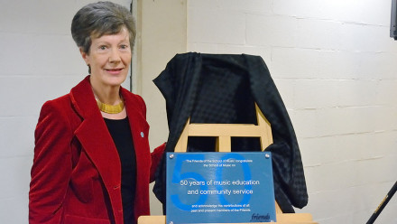 Plaque unveiling by Christine Goode, Past-President of the Friends of the ANU School of Music and ANU School of Music Foundation Board Member, VIP Friends of the SoM function, new Athenaeum Room, Friday 18 September. Photo: Peter Hislop.