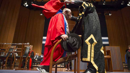 Mr Ross Gittens at his honorary degree ceremony. Photo by Lannon Harley, ANU.