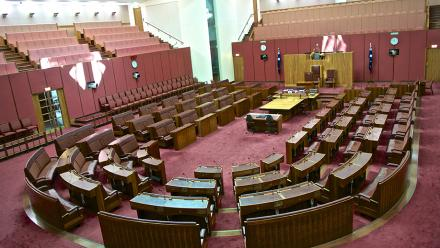 The Senate chamber at Parliament House, Canberra. Image by Jason James on flickr.