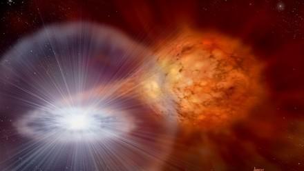 Artist's impression of supernova, David A Hardy & PPARC