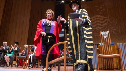 Thérèse Rein, ANU Chancellor Professor Gareth Evans. Photo by Stuart Hay, ANU.