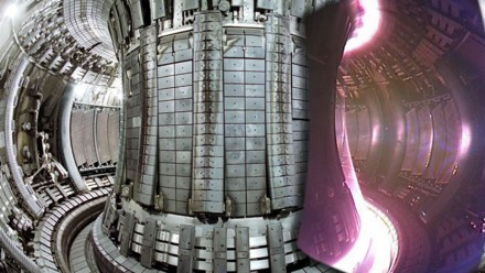 The Joint European Torus (seen here with a superimposed image of a plasma) is one of the machines helping to unlock fusion power. Wikimedia Commons