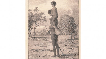 Turandurey carrying her daughter, Ballandella. Image: State Library of NSW