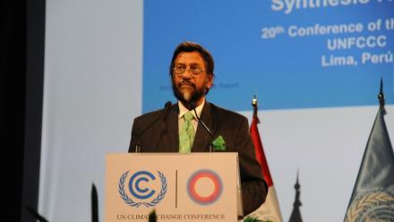 Head of the UN's Intergovernmental Panel on Climate Change, Rajendra K Pachauri, speaks at the 2014 UN Climate Change Conference