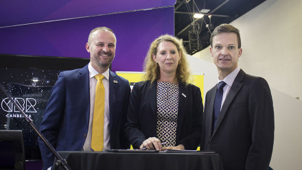 Chief Minister Andrew Barr MLA, AITC Director Professor Anna Moore and UNSW Rector Professor Michael Frater at the signing of the MOU between ANU and UNSW