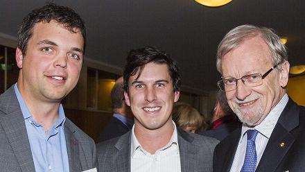 Tom Wood, Andrew Herman and Chancellor Professor Gareth Evans