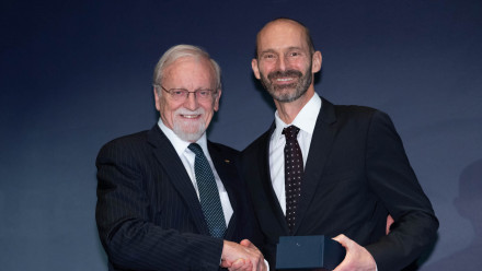 Professor the Hon Gareth Evans with Mr Neill Daly. Photo by Lannon Harley, ANU.