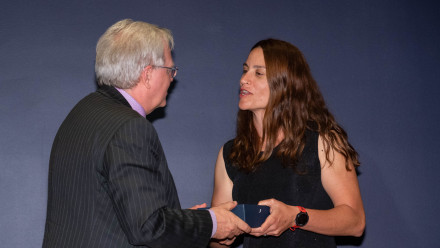 Professor Brian Schmidt with Dr Sofia Samper Carro. Photo by Lannon Harley, ANU.