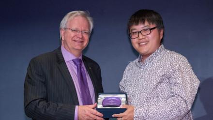 Professor Brian Schmidt with Mr Xin Li. Photo by Lannon Harley, ANU.