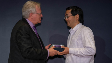 Professor Brian Schmidt with Dr Zongyou Yin. Photo by Lannon Harley, ANU.
