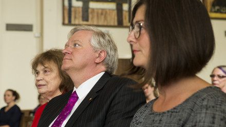 From left to right - Ms Robin Hughes AO (Pro-Chancellor), the Vice-Chancellor and Professor Sharon Friel at a morning tea to celebrate International Women's Day