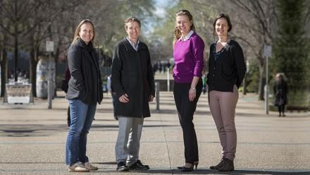 Dr Ida Kubiszewski, Professor Elanor Huntington, Dr Merryn McKinnon, Nina McLean and Professor Robyn Lucas (absent). Image: Stuart Hay.
