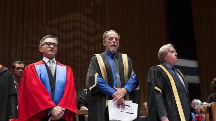 Dr Marty Natalegawa, Professor Richard Baker, ANU Vice-Chancellor Professor Brian Schmidt. Photo: Stuart Hay, ANU.