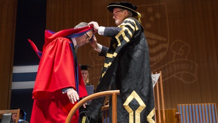 Dr Marty Natalegawa, ANU Chancellor Professor Gareth Evans. Photo by Stuart Hay, ANU.
