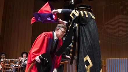Sir Angus Houston, ANU Chancellor Professor Gareth Evans. Photo by Stuart Hay, ANU.