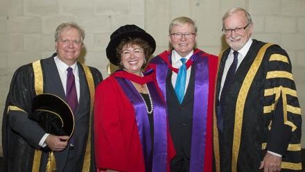 (L to R:) Vice-Chancellor Professor Brian Schmidt, Thérèse Rein, former Prime Minister Kevin Rudd and ANU Chancellor Professor Gareth Evans. Photo: Stuart Hay, ANU.