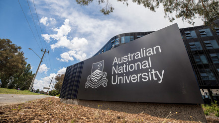 ANU sign at the entrance of campus