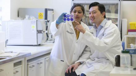 ANU researchers Anukriti Mathur and Dr Si Ming Man from The John Curtin School of Research examine bacteria that causes food poisoning.