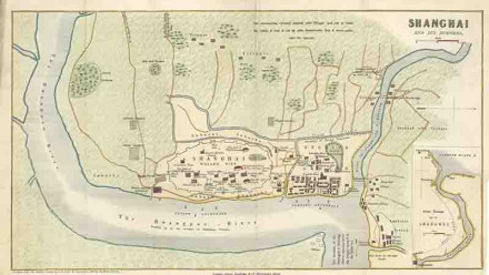 'Shanghai and its Suburbs' Mapmaker is William Charles Milne (1816-1863). Map dated C1853. Hand coloured engraving.