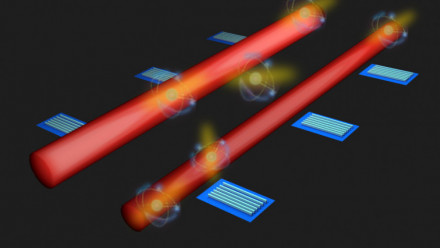 Artist's impression of a system of detectors along quantum circuits to monitor light  particles. Image: Kai Wang, ANU