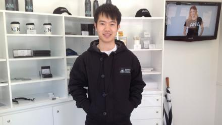 Environmental Management student Qucheng Deng in the ANU Canvas Jacket