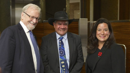 Professor Mick Dodson AM (centre) with ANU Chancellor Professor Gareth Evans AC QC and the Honourable Jody Wilson-Raybould PC, QC, MP
