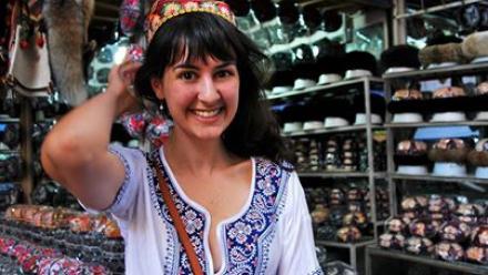 Kate in a bazaar