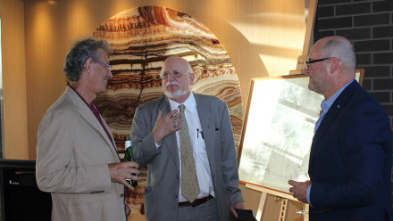 Professor Nicholas Evans and Professor Clive Kessler at the opening of an exhibition which celebrated Professor Kessler's donation to the University.