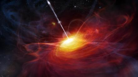 An artist's impression of a black hole at the centre of a quasar. Image ESO/M Kornmesser