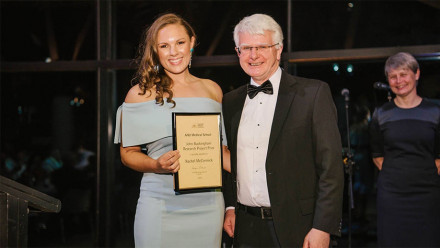 Dr Rachael McCormick (left) receiving the John Buckingham Research Project Prize certificate