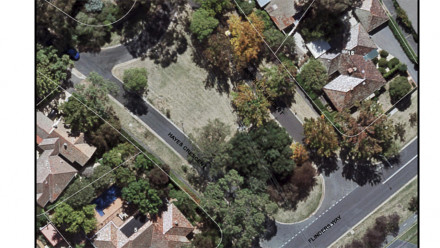 Aerial view of traffic island. Image: ACT Heritage